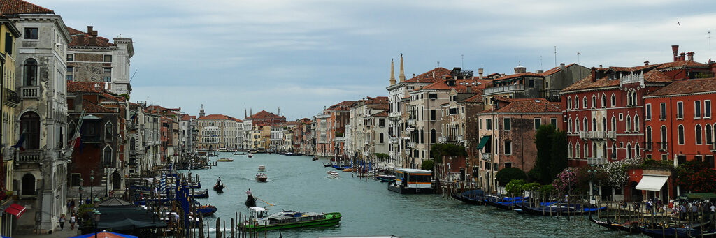 View of the Canale Grande from the Rialto Bridge