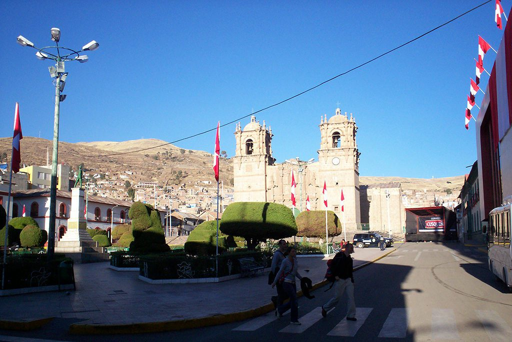 Main square in Puno, the gateway to the Uros Islands and Isla Taquile on Lake Titicaca