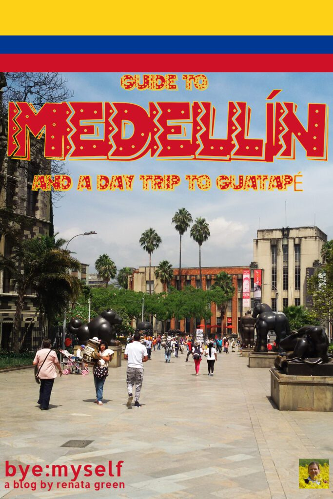 Pinnable Picture for Post on Guide to MEDELLÍN – And a Day Trip to GUATAPÉ —showing Medellin's City Center