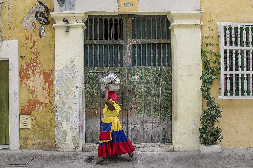 Woman walking in Cartagena, Colombia