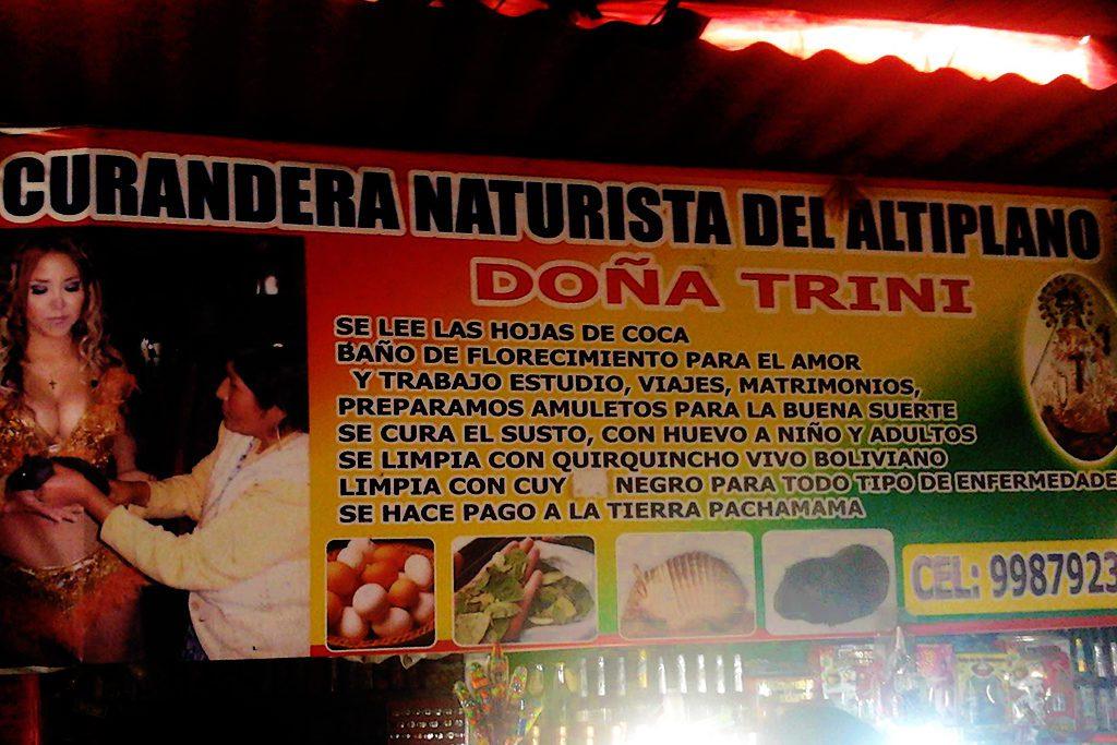 Curandera at a market in Lima