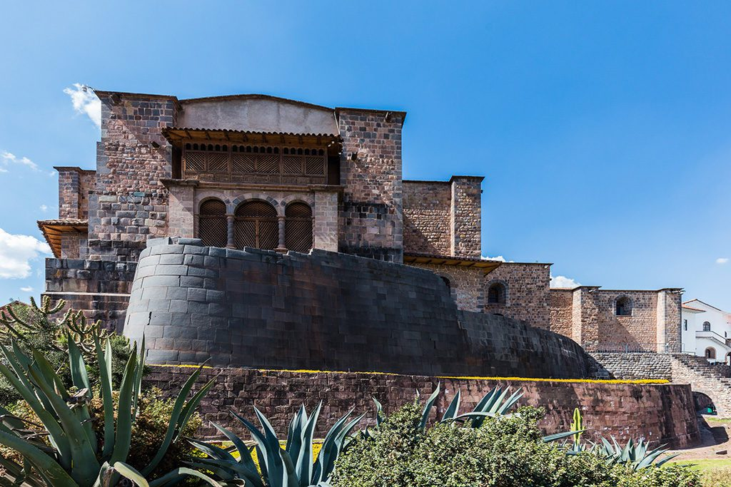 The spectacular Coricancha remnants from the Inca times with the colonial Santa Domingo church in the backdrop.