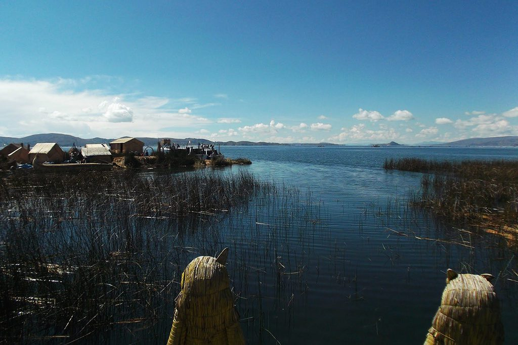 The Uros islands on Lake Titicaca on a trip from PUNO to the Taquile island
