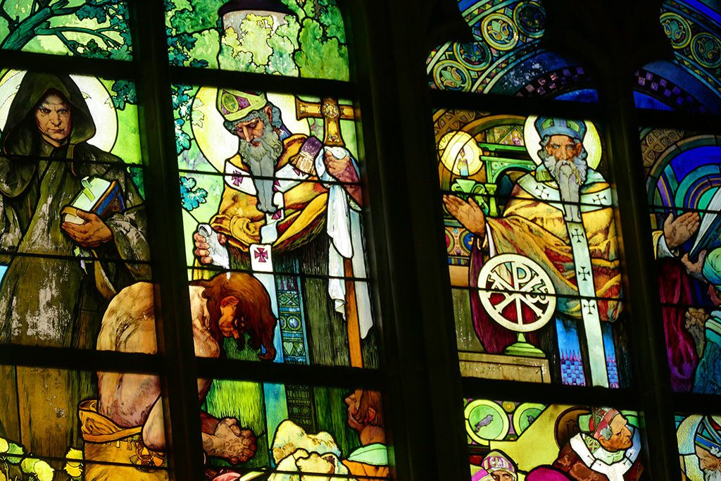 Window by Alfons Mucha at the New Archbishop Chapel