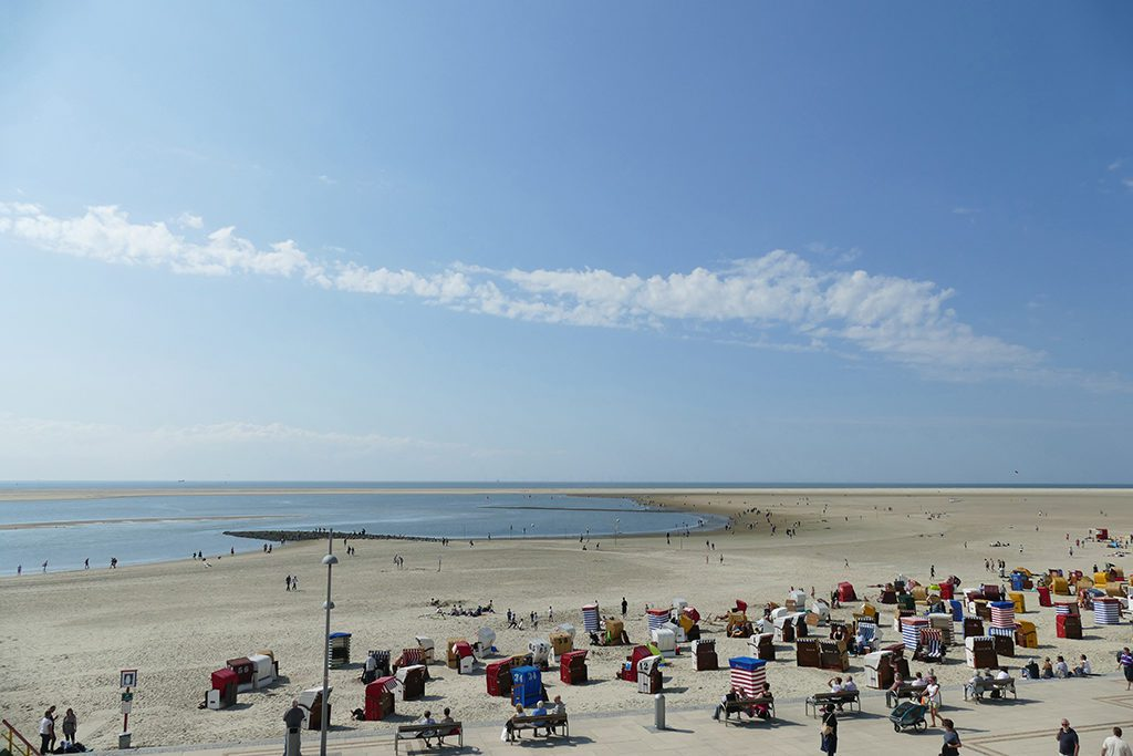 Wicker beach chairs on the beach of Borkum