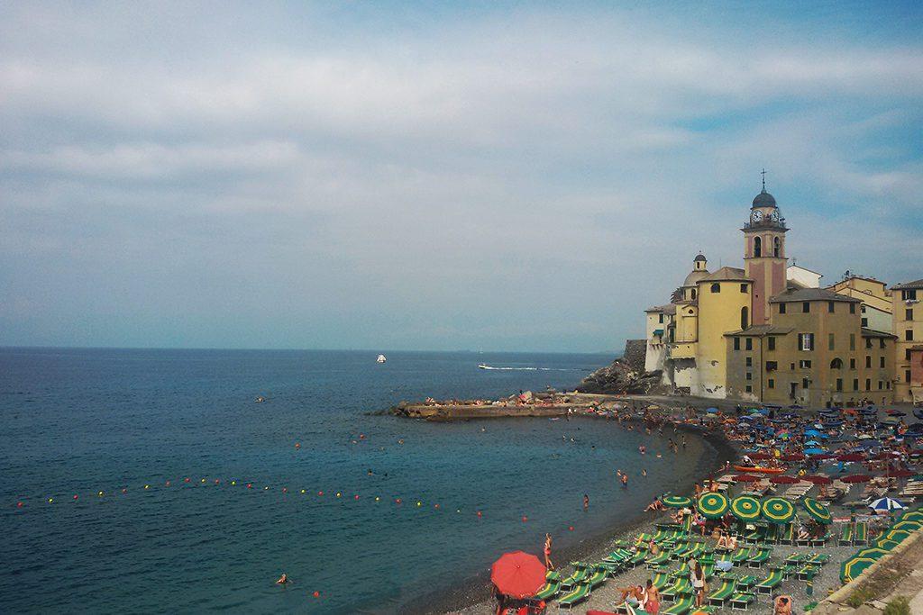 Beach of Camogli and the Basilica di Santa Maria Assunta