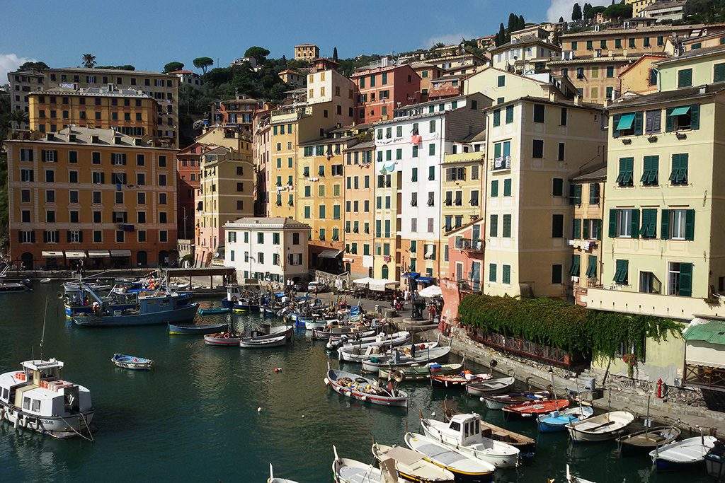 View of the port of the colorful beach town of Camogli