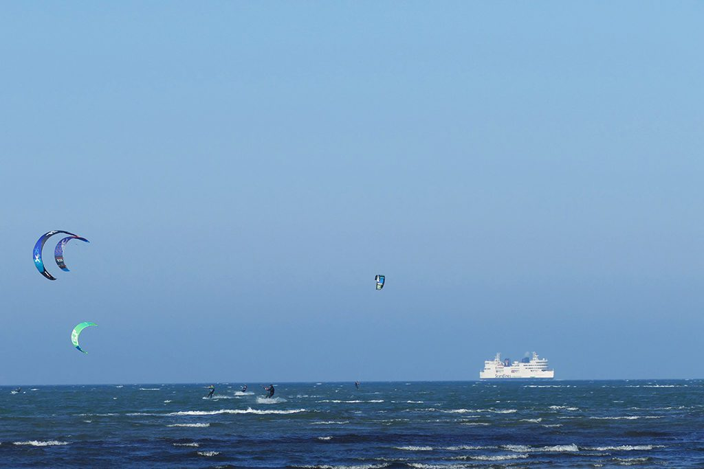 Fehmarn's rough northern strait where you can spot ferries going to Denmark.