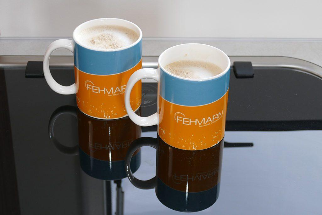 Coffee in Fehmarn-Mugs in our Camper Van