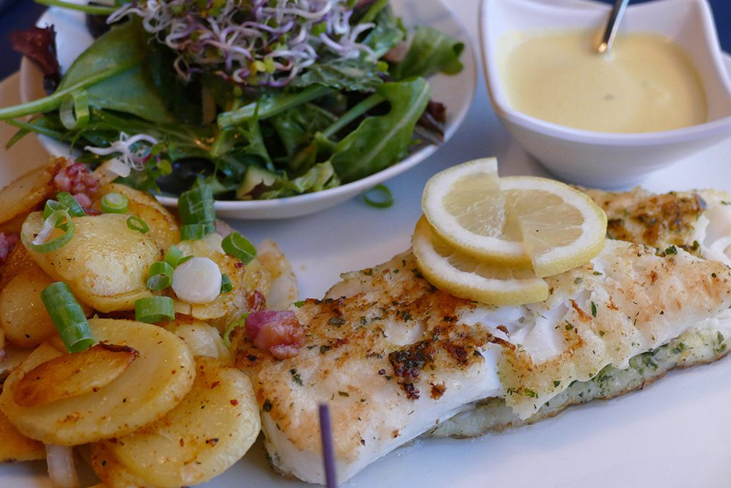 Plain cod with a creamy mustard sauce and the same sides.