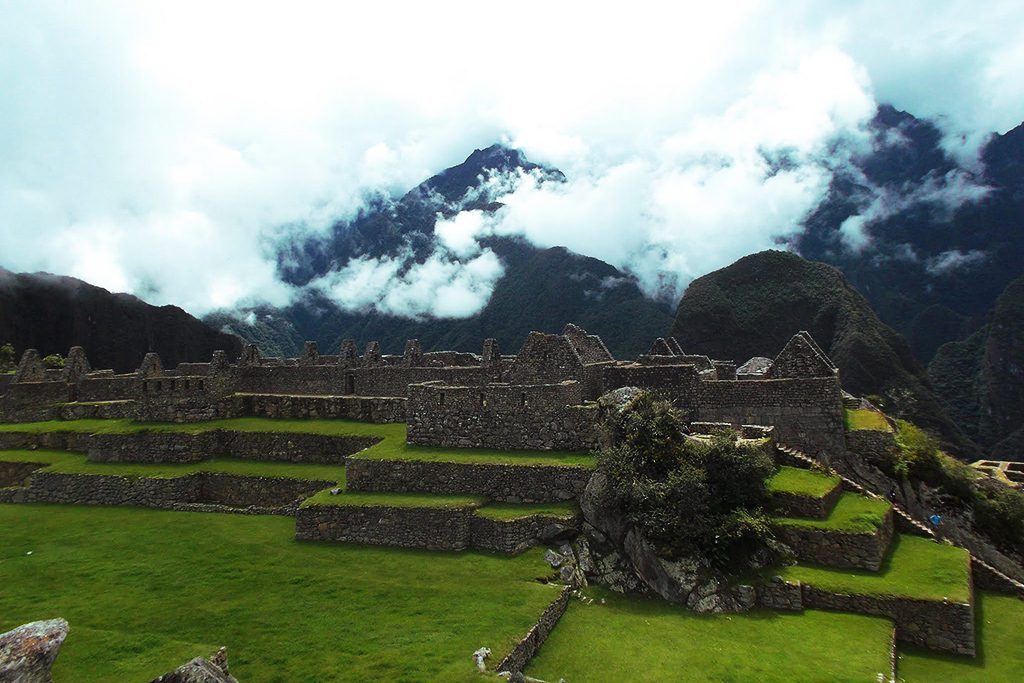 Dense morning clouds over Machu Picchu.