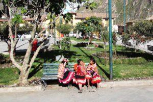 Girls at the Plaza de Armas, Ollantaytambo's central square