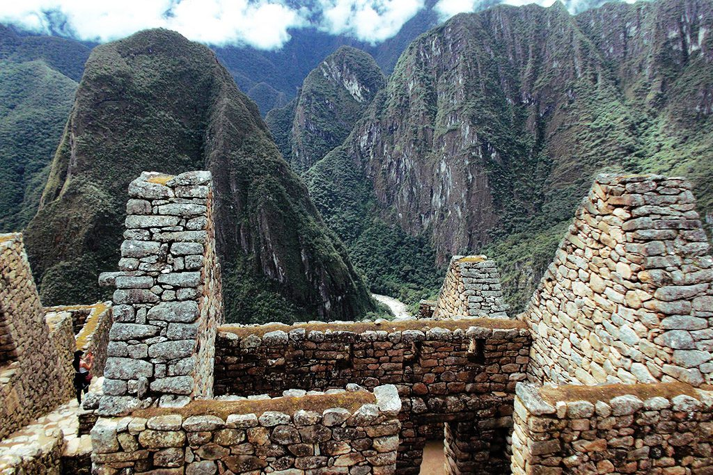 Remnants of dwellings in Machu Picchu.