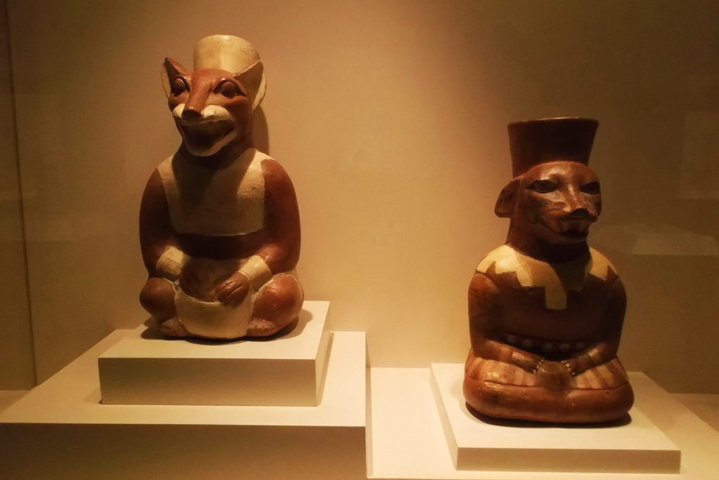 Artistic vessels in the shape of foxes at the Museo Inca.