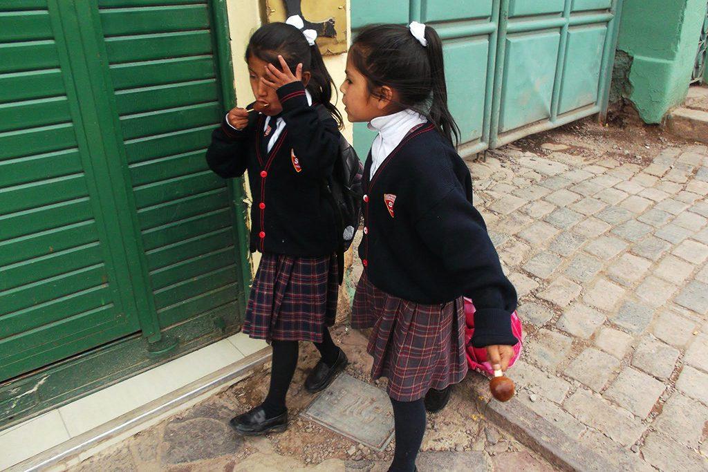 Two school girls in Cusco