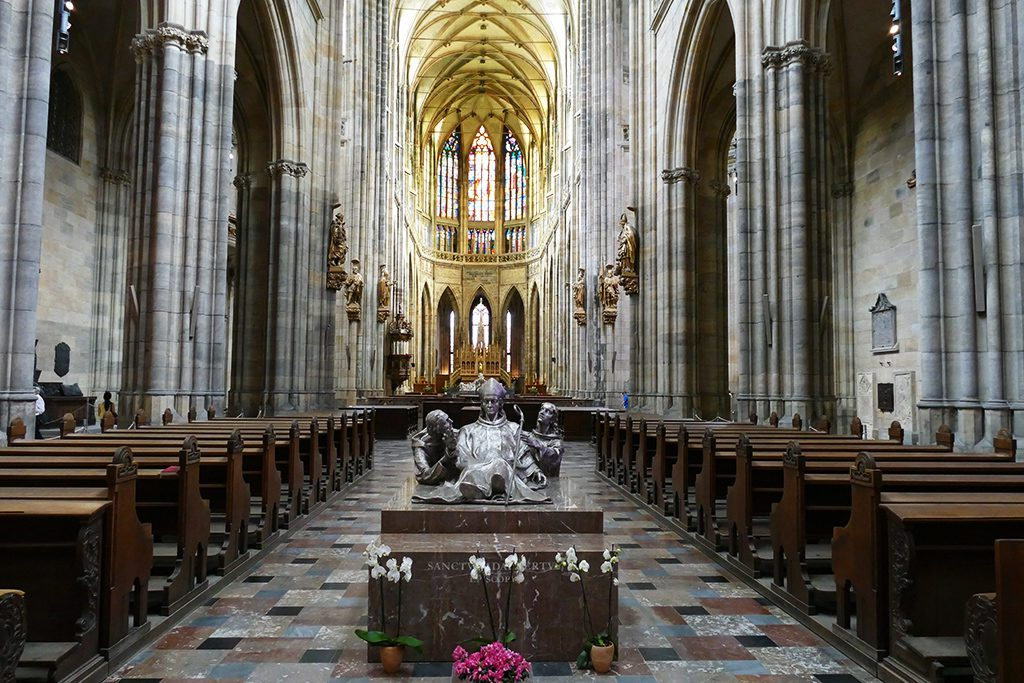 The nave of Saint Vitus Cathedral in Prague