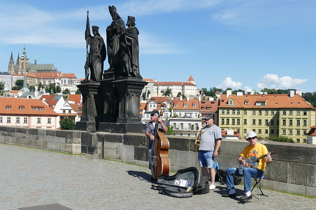 Band playing on the Charles Bridge in Prague