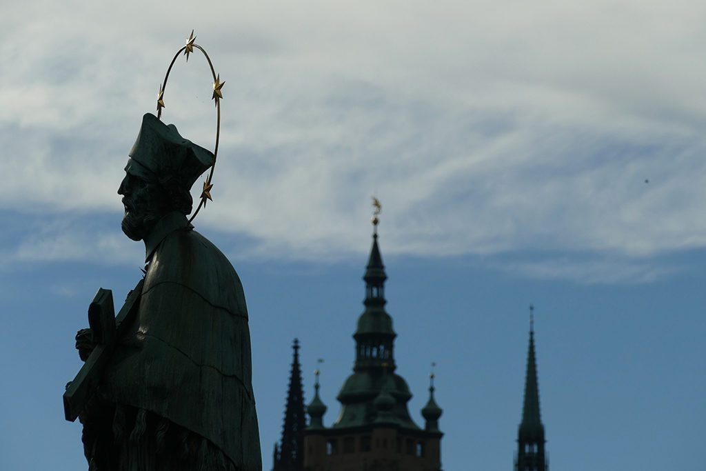 Statue of St John Nepomucene on the Charles Bridge in Prague