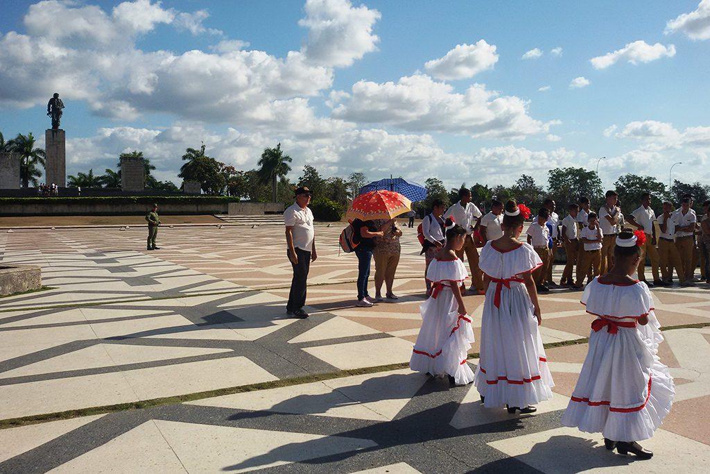 Students performing on the Plaza de la Revolucion