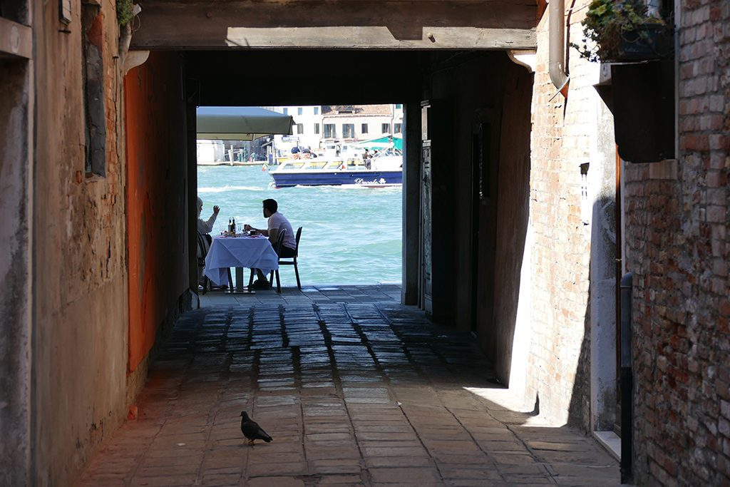 Dining couple at the Giudecca