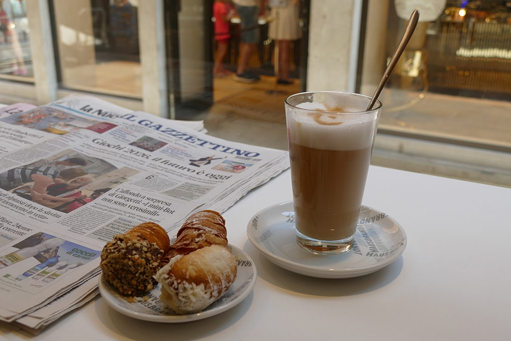 Delicious pastries and an original caffé latte.