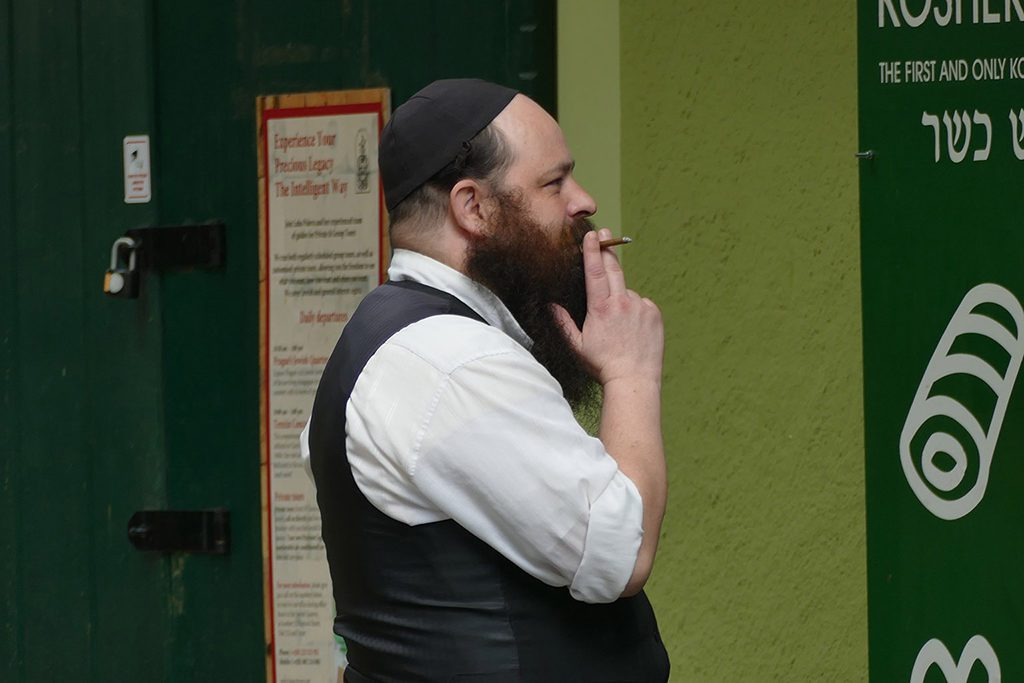 A Jewish vendor in Josefov