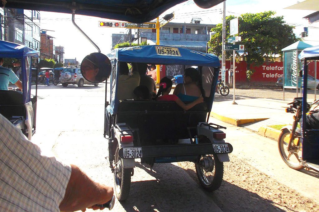 The moto-taxi, one of the most popular vehicles in Pucallpa.