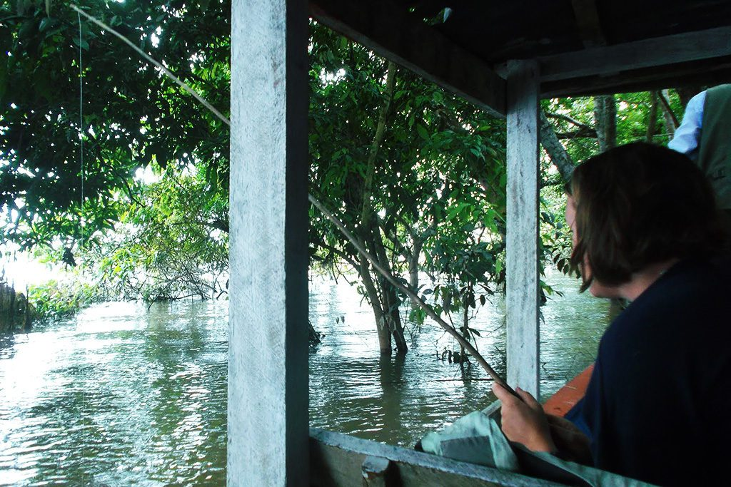 Fishing for piranhas at the Yarinacocha lagoon