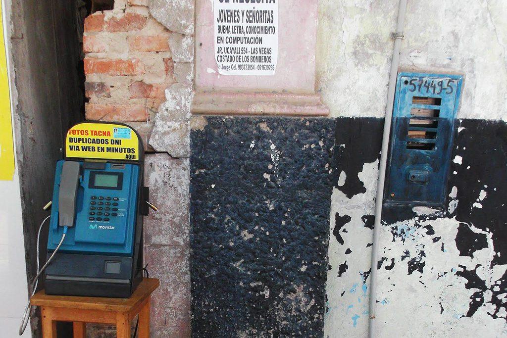 Public phone in Pucallpa.