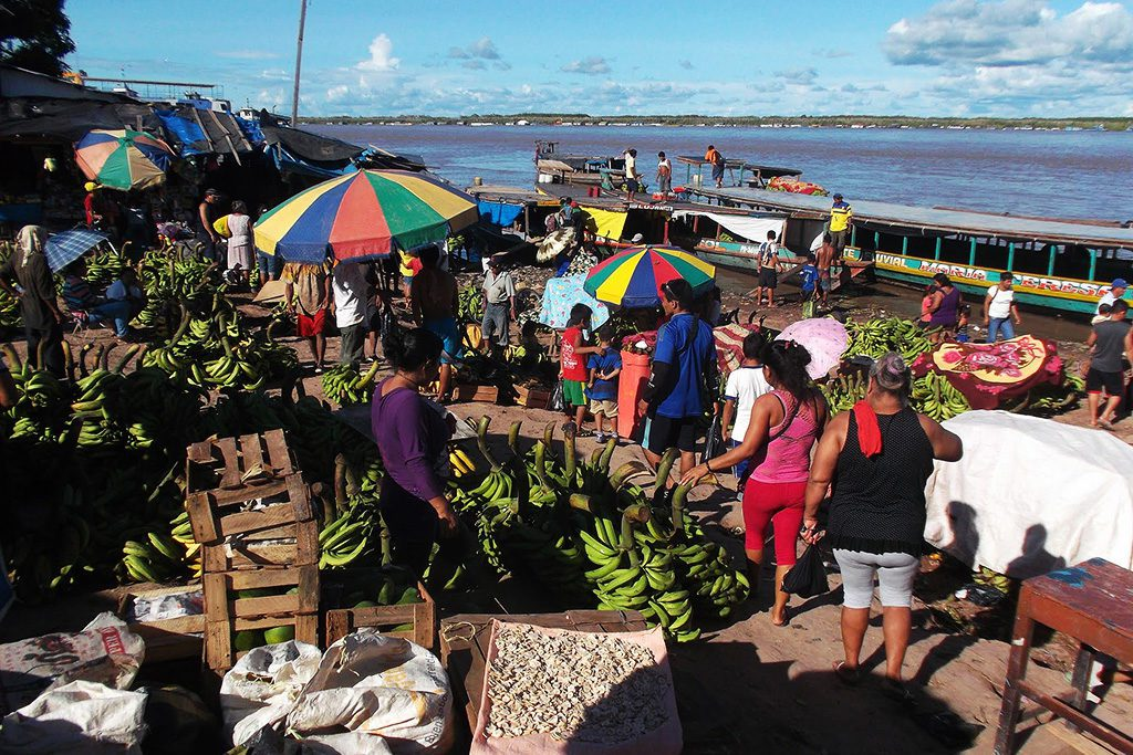 Colorful market on the banks of river Ucayali.