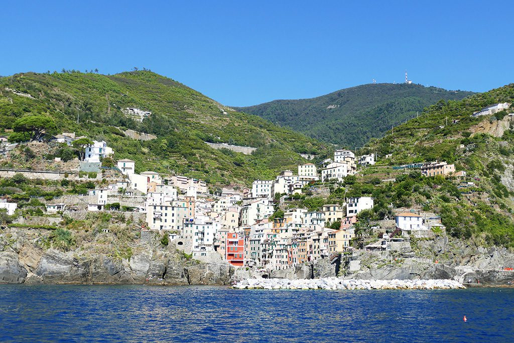 View of Riomaggiore when getting there by ferry.