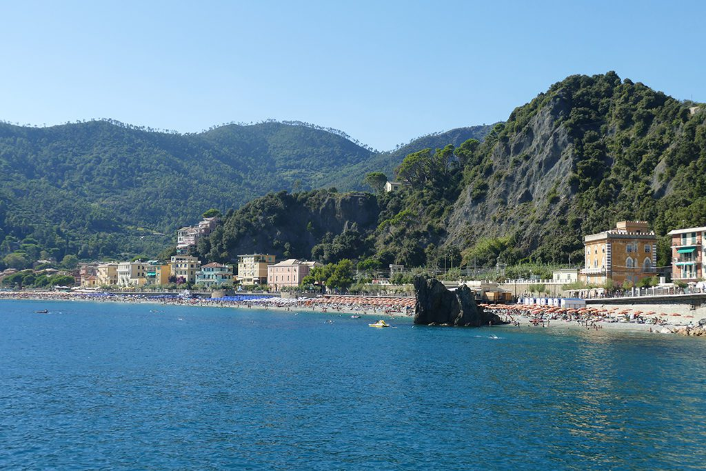 View from the sea of Monterosso's new part Fegina where also the train station is located.