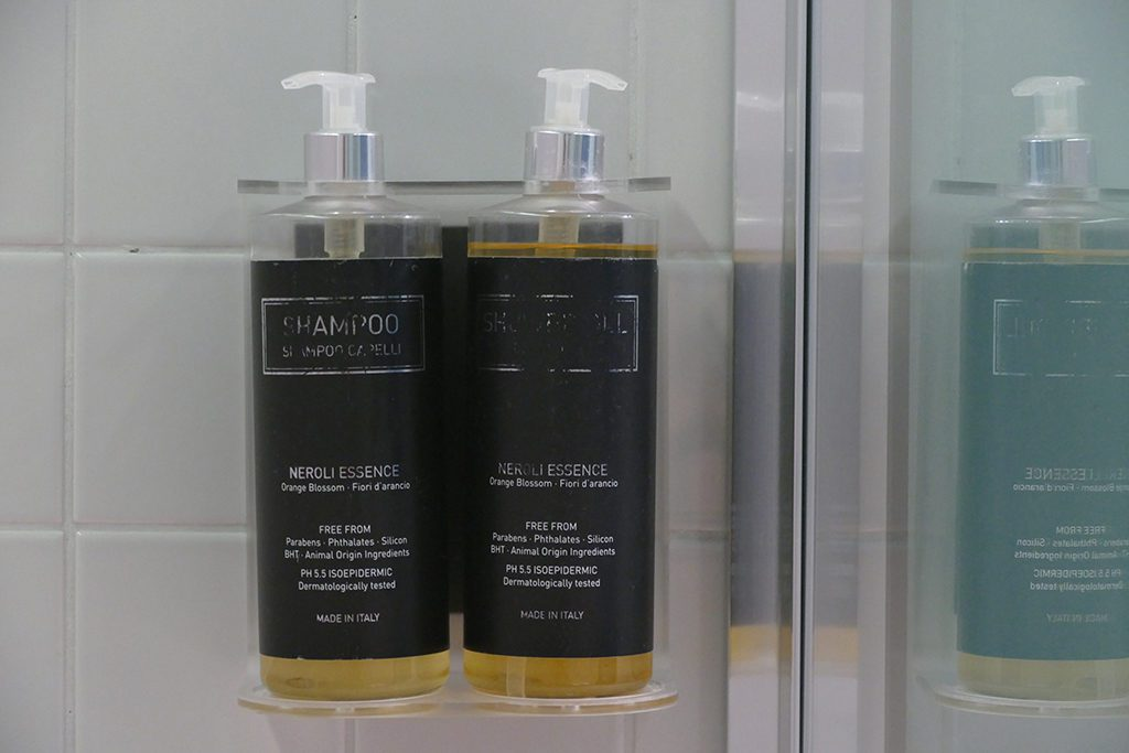 Shower Gel and Shampoo at The Poet Hotel in La Spezia, the gateway to the Cinque Terre.