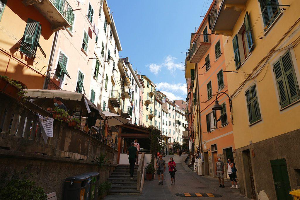 Via Colombo in the center of Picturesque Riomaggiore where the hike of the Cinque Terre starts.