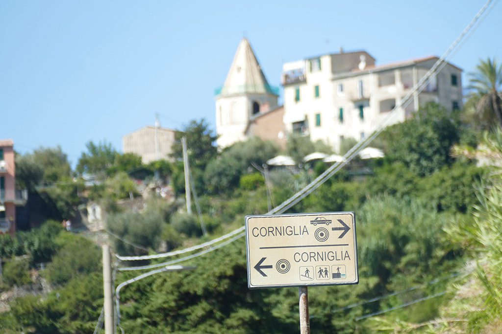 Sign at Corniglia, one of the Cinque Terre connected by the world's most picturesque hiking trail