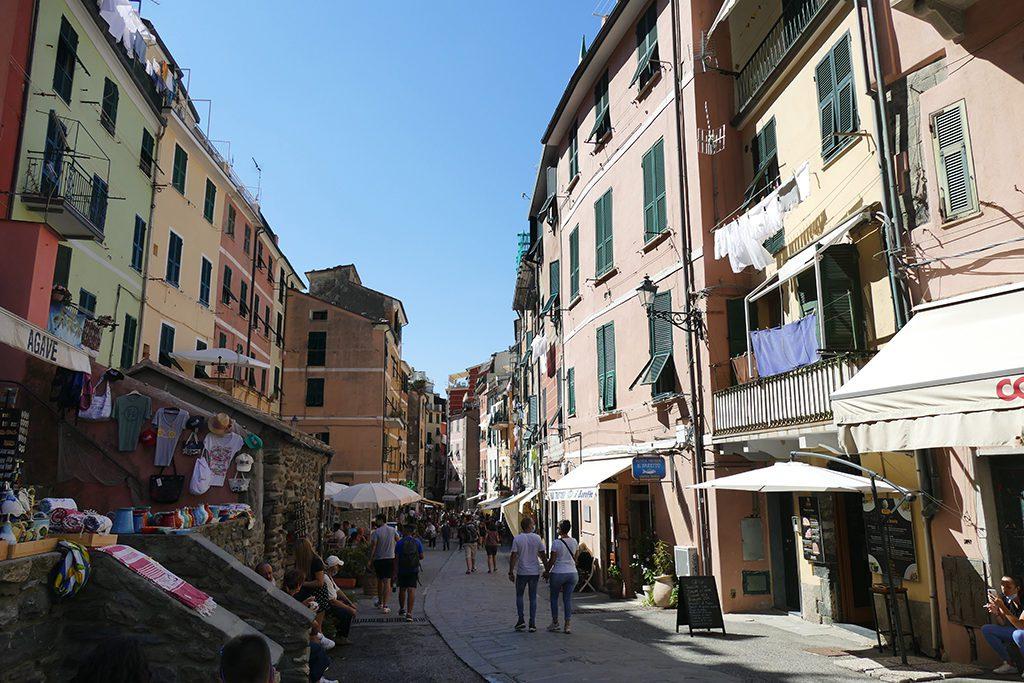Strolling down Via Roma in Vernazza