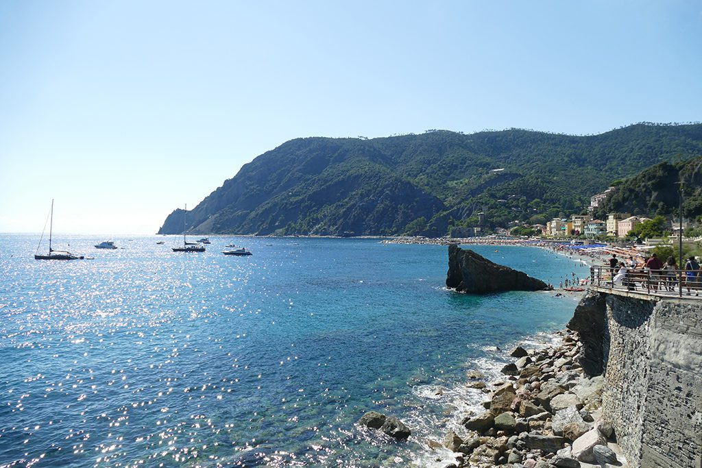View of the Ligurian Sea from the the viewpoint below Torre Aurora.