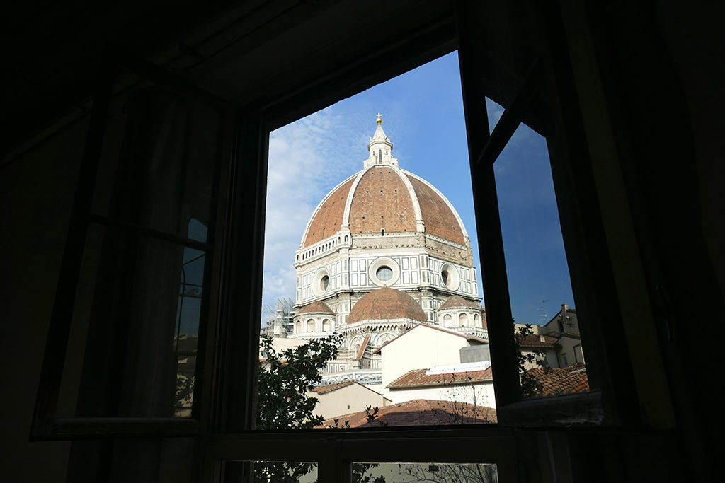 View of the Brunelleschi's Cupola from the classroom in Florence.