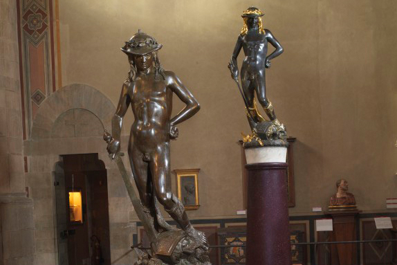 Donatello's David with a replica by the Ferdinando Marinelli Artistic Foundry at the Bargello Museum in FLORENCE - Home of the Medici, Cradle of the Renaissance