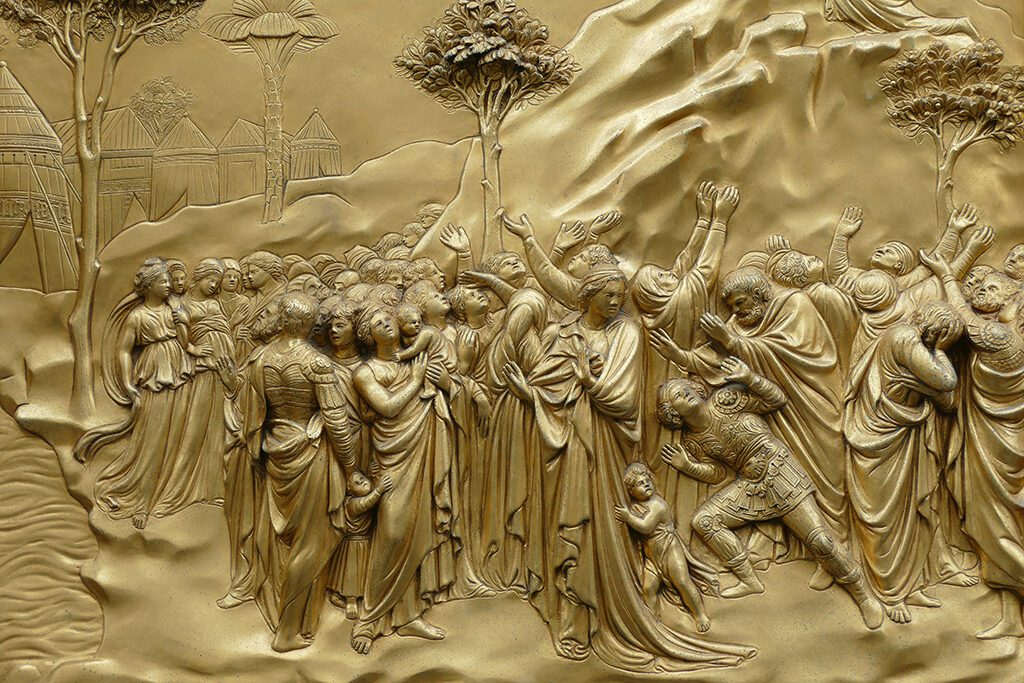 The Story of Abraham by Lorenzo Ghiberti on the lower left side of the eastern door of the Baptistery of San Giovanni in Florence.