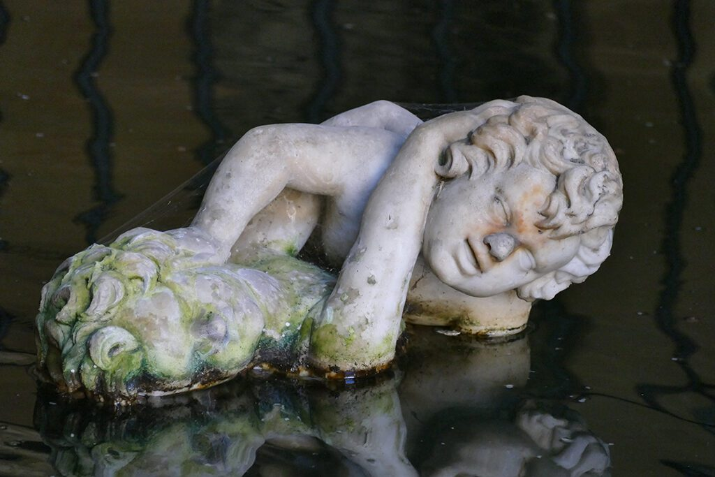 Statue by Pompeo Ferrucci del Tadda is at the Moses Grotto, one of three grottos at the Boboli Garden.