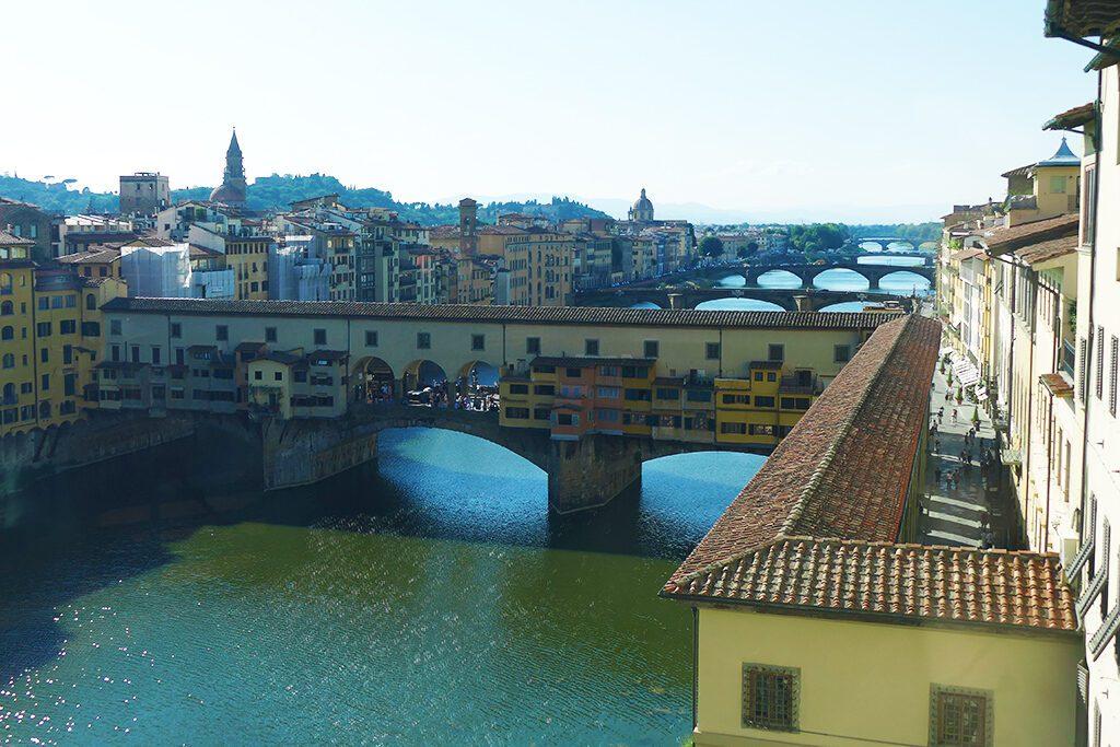 The Vasari Corridor, leading from the Uffizi across the Ponte Vecchio towards the Palazzo Pitti.