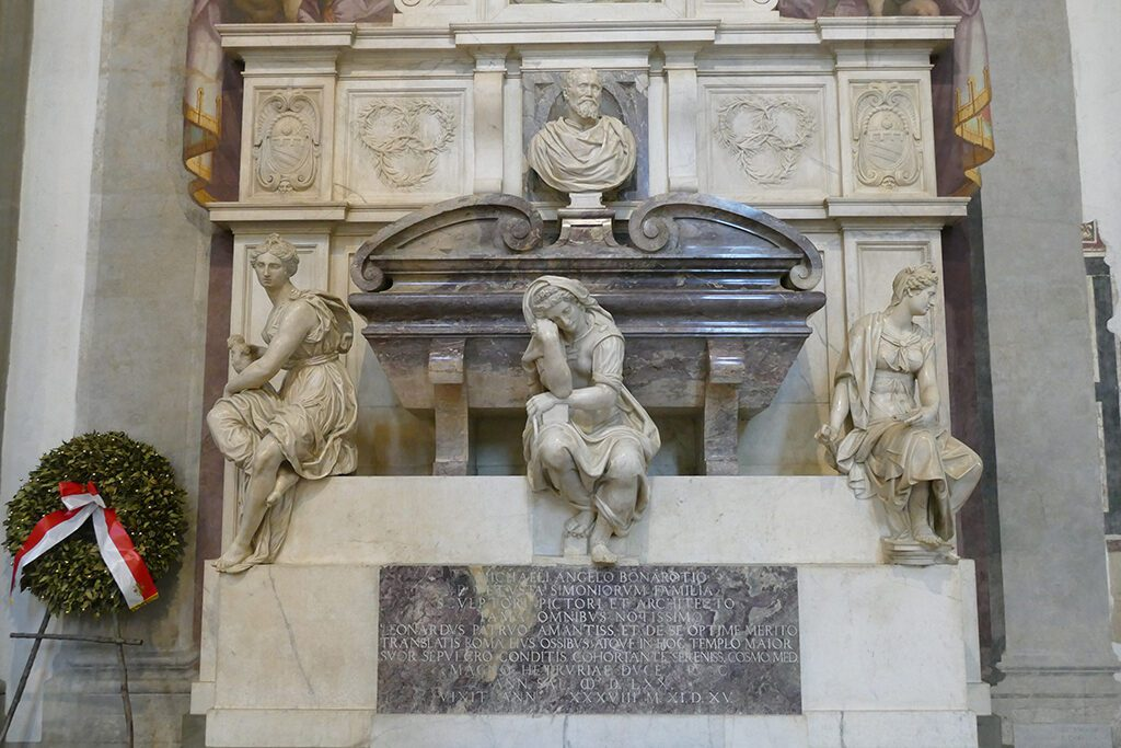 The tomb of Michelangelo Buonarotti at the Basilica di Santa Croce in FLORENCE - Home of the Medici, Cradle of the Renaissance