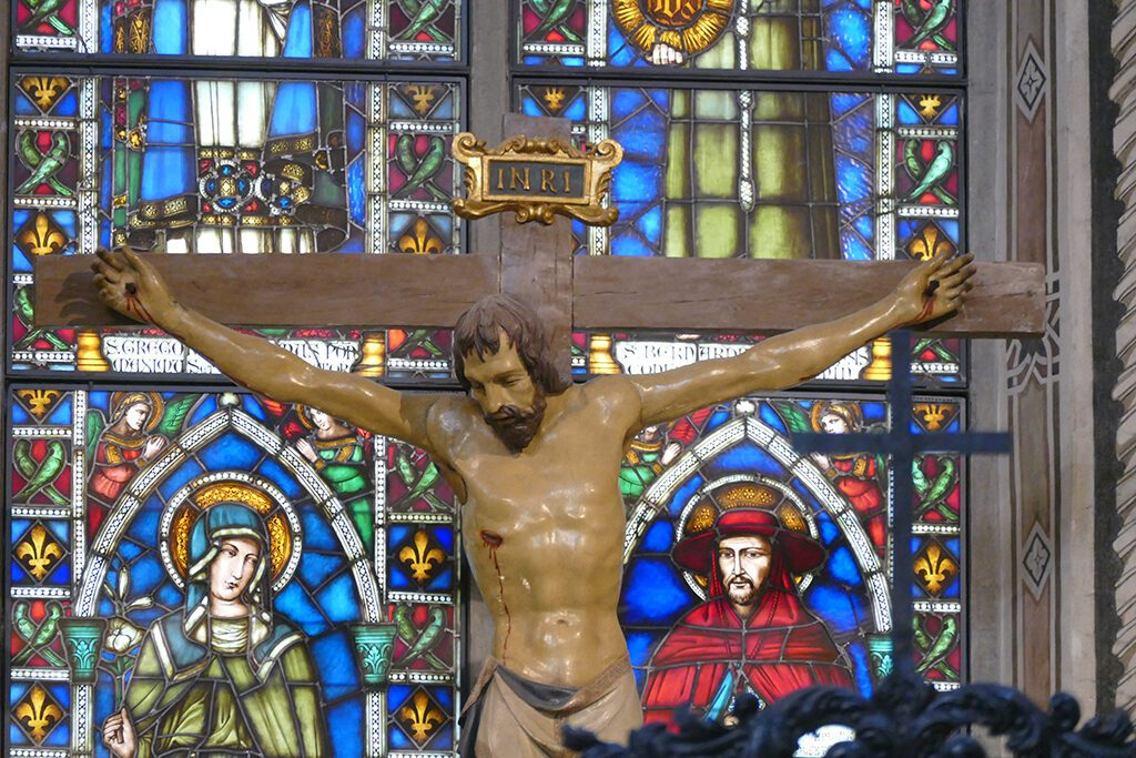 The crucifix by Donatello at the Basilica di Santa Croce in FLORENCE - Home of the Medici, Cradle of the Renaissance