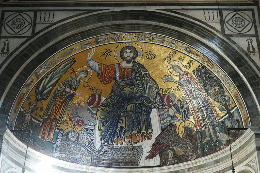 A large mosaic from the 13th century is decorating the apse dome of San Miniato al Monte