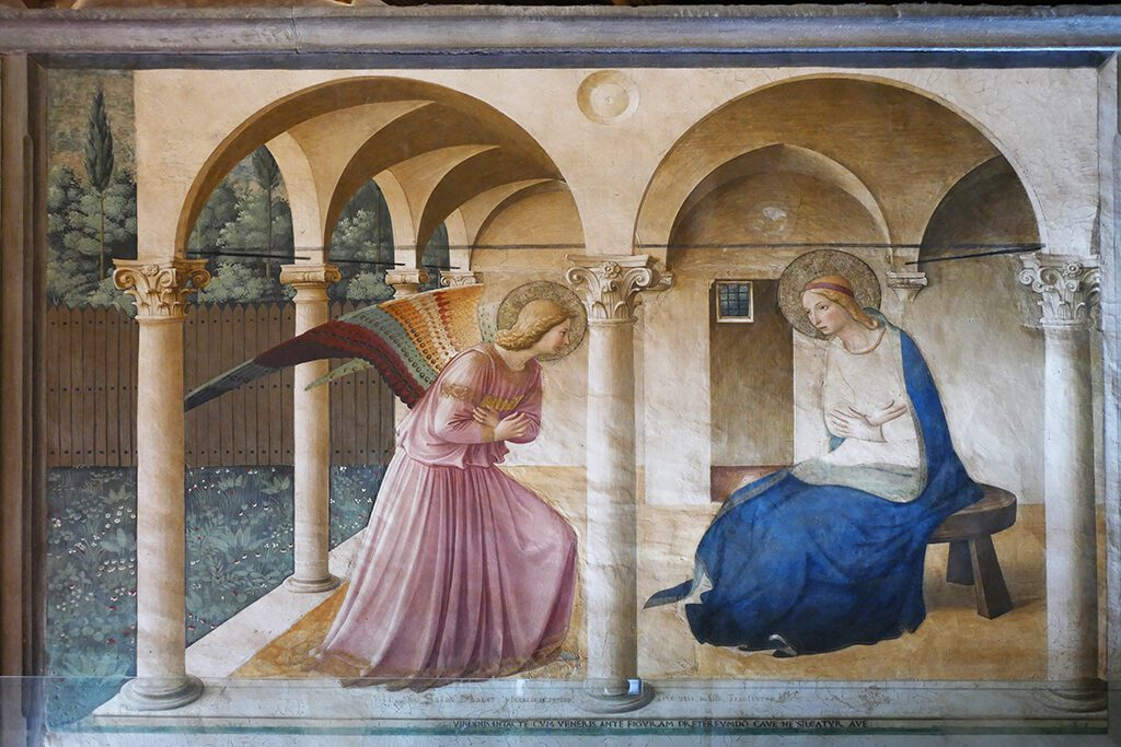 The Annunciation by Fra Angelico at the San Marco Museum in Florence.