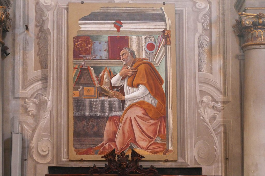 Sandro Botticelli's fresco of St Augustine in His Study at the San Salvatore di Ognissanti in FLORENCE - Home of the Medici, Cradle of the Renaissance