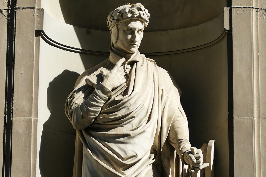 Statue of Dante by Emilio Demi, decorating the façade of the Uffizi Gallery in Florence - Home of the Medici, Cradle of the Renaissance