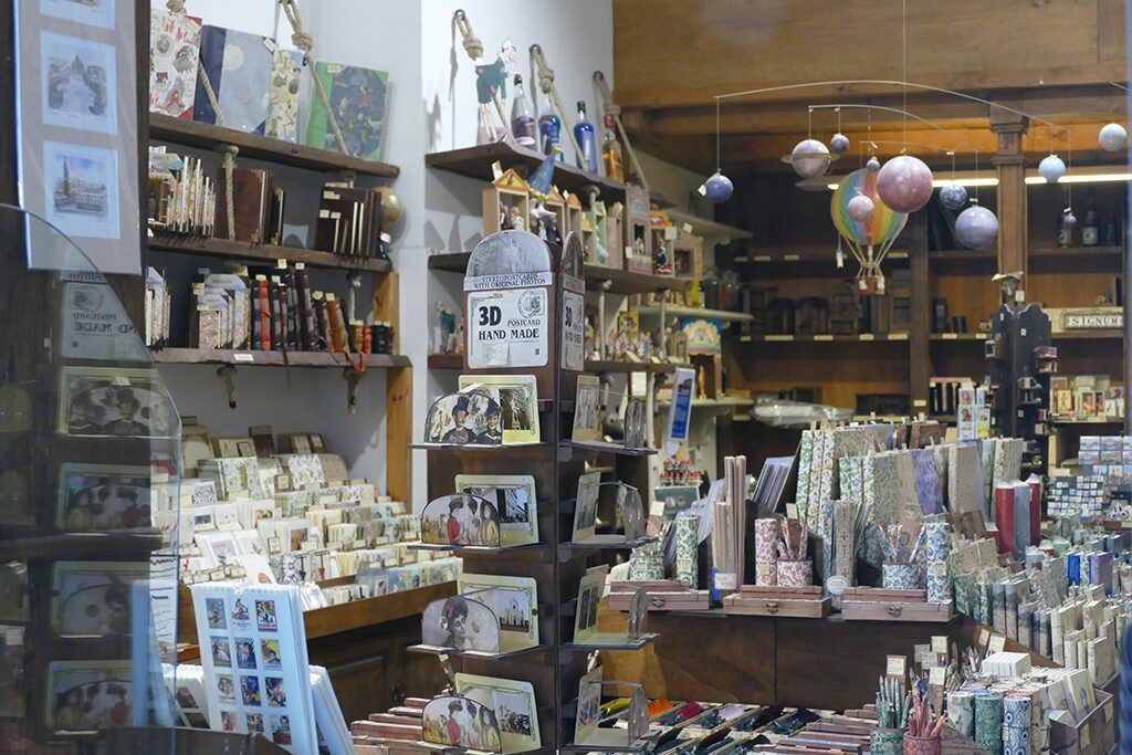 A small shop in Florence, packed with unique paper products and other stationary.