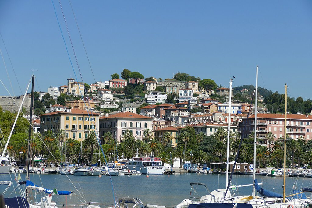View of the city from the harbor of La Spezia.